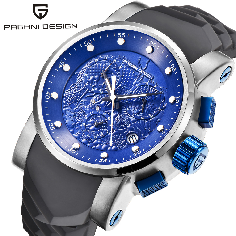 PAGANI DESIGN Luxury Brand Embossed Dragon Chronograph Sport Watches Men Dive 30m Silicone strap Quartz Watch Relogio Masculino reef tiger brand men s luxury swiss sport watches silicone quartz super grand chronograph super bright watch relogio masculino