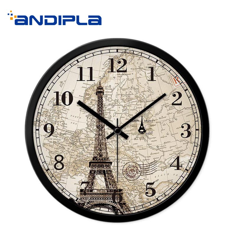 12/14 Inch Creative Wall Clock Eiffel Tower Pattern Mute Quartz Hanging Clock Digital 12 Hours Modern Wall Watch Bedroom Decor