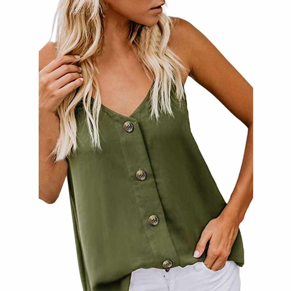 Fashion Womens V-neck Vest Sleeveless Button  Shirt Blouse Casual Tank Tops рубашка женская  #20