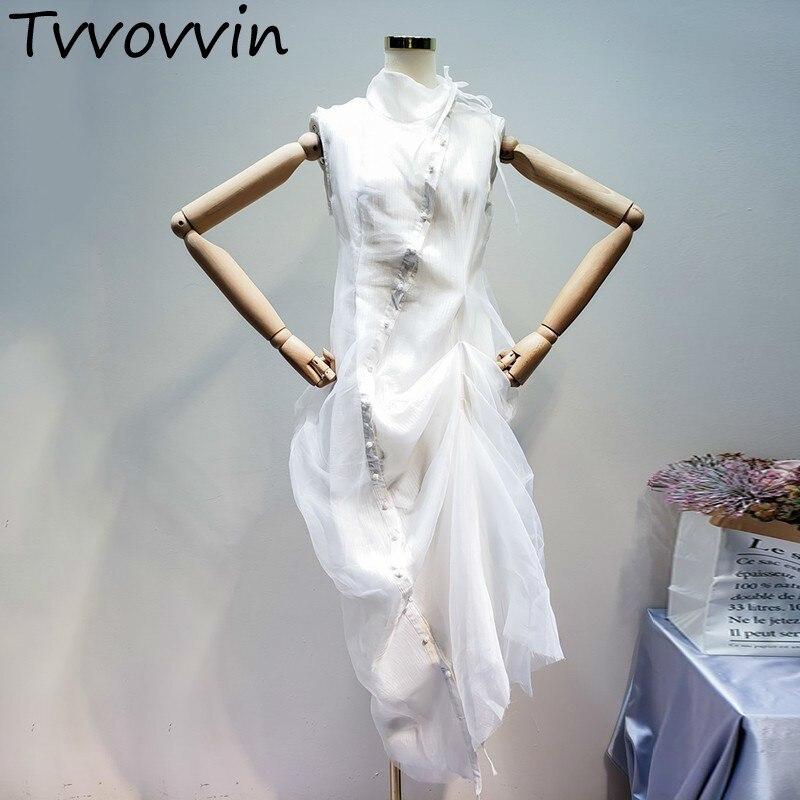 TVVOVVIN 2019 Summer Clothes For Women Cotton Linen Split Joint Organza Irregular Pleated Hem Sleeveless High