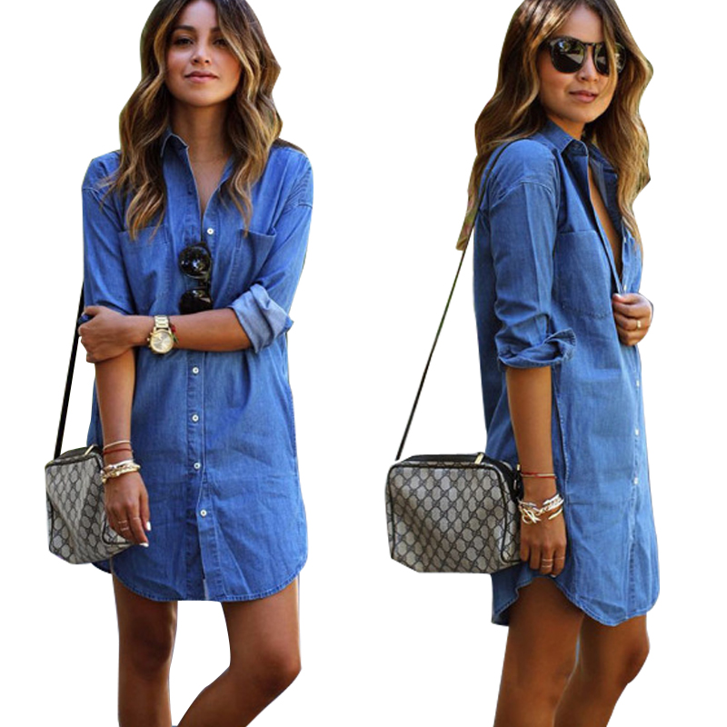 New Fashion Nice Long Blue font b Shirts b font font b Women b font Casual