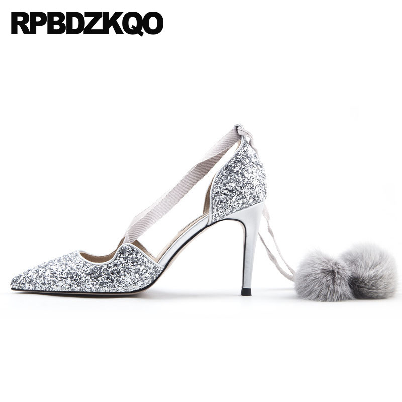 688a1c31470 High Heels Thin 3 Inch Women Wedding Lace Up Size 4 34 2018 Pointed Toe Pom  Poms Black Shoes 33 Silver Glitter Pumps Cross Strap