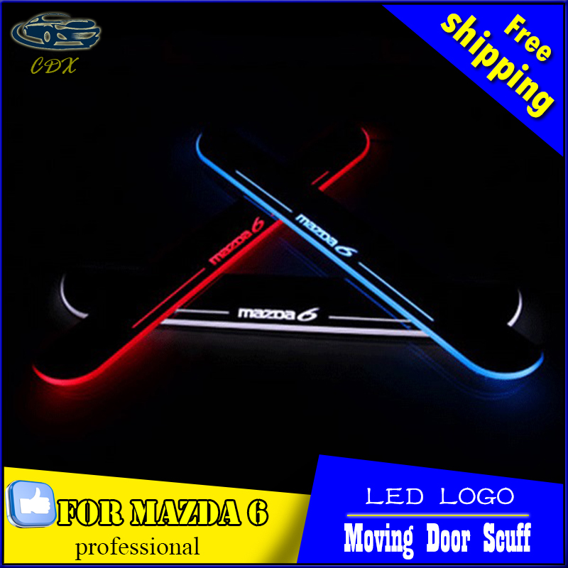 LED door sill for Mazda 6 2013 2014 2015 M6 Led moving light door scuff plate welcome pedal light