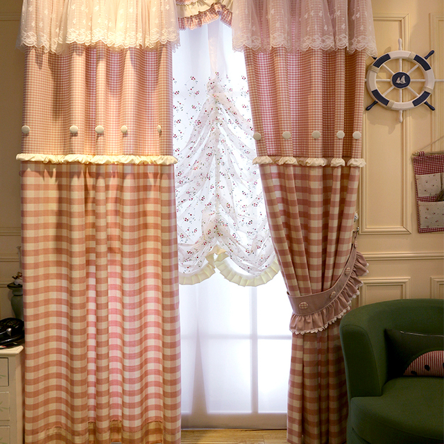 Past Fresh Style Pink Checks Curtains Princess Lace Living Room Bedroom S Window Treatments