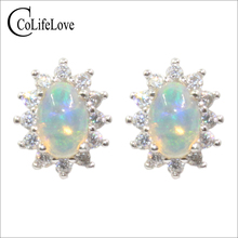 Classic Australia opal stud earrings 4 mmm 6 mm natural opal earrings sterling silver opal wedding