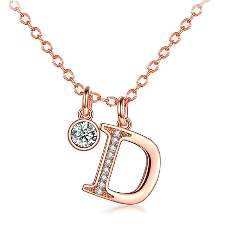 Fashion Women Crystal D Words Rose Gold Sliver Chain Copper Necklaces Exquisite Party Office OL Ladies Clavicle Necklace Jewelry letra g bem bonita