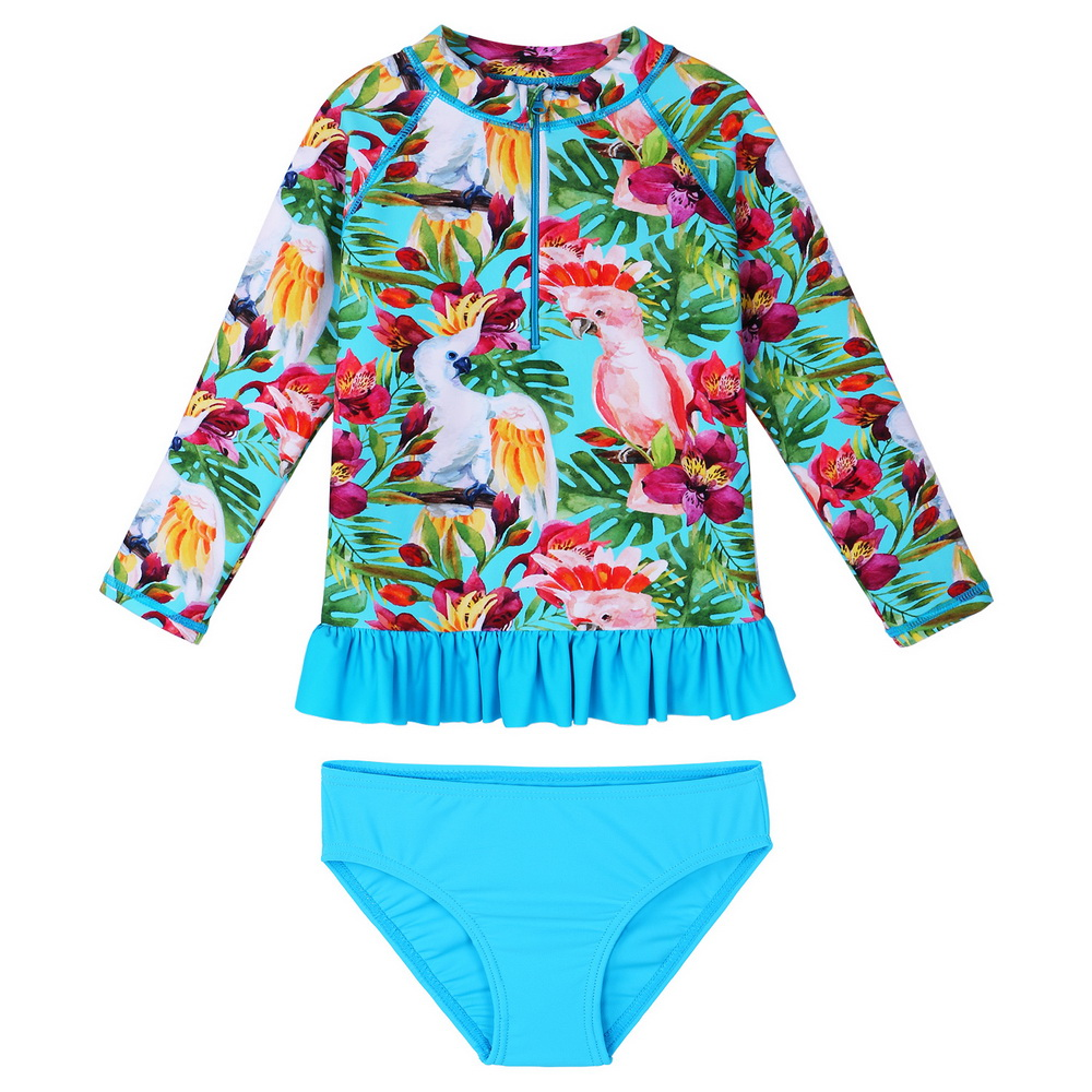 BAOHULU Floral Girls Swimwear Cartoon Cockatoo Girls Swimsuit Two Piece Kids Long Sleeve Rash Guards Set Kids Swimwear Girl