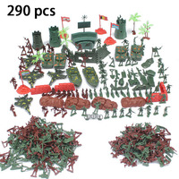 290pcs Plastic Military Soldier Model Set Toy Artillery Fighter Action Figure Army Combat Men Army Sand Scene Toys For Boys Gift