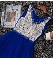 100% real completo con lentejuelas rebordear rhinestone azul real/gris plata larga vestido sissi princesa Vestido de bola de la Belleza Victorian