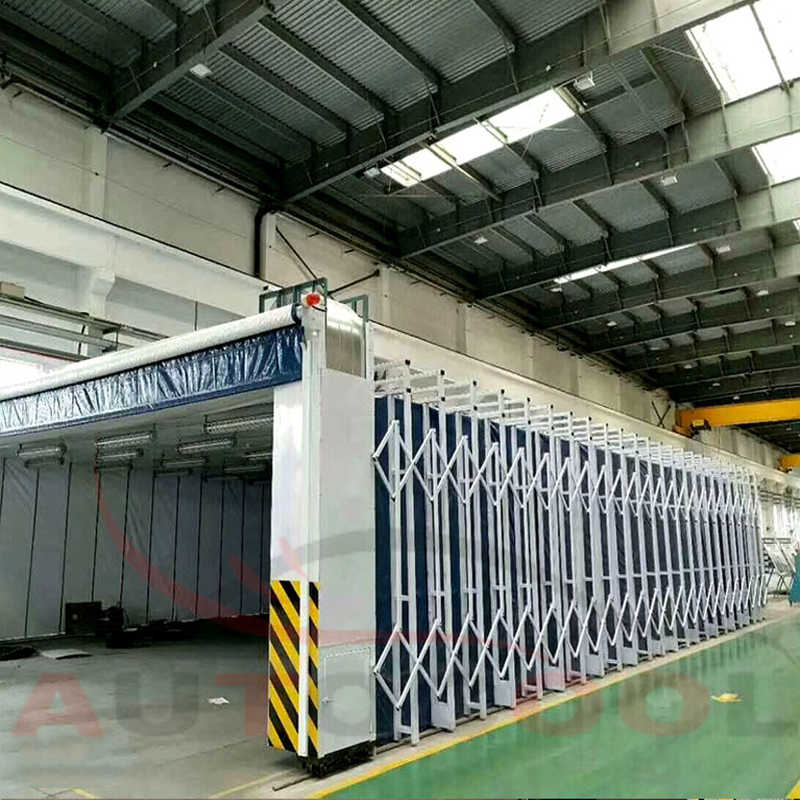 Telescopic paint spray booth for large heavy duty workpieces