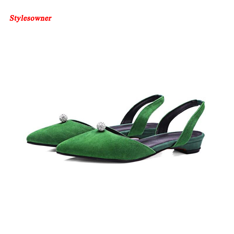 ФОТО Stylesowner Hot Fashion Nude Shoes Black Green Low Heel Graceful Pointed Toe Rhinestone Decro Comfortable Party Walking Shoe