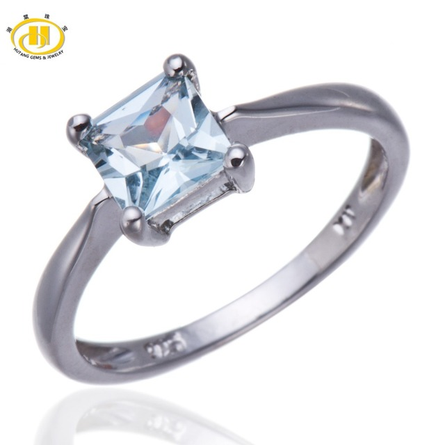 Hutang Princess Cut Natural Aquamarine Solid 925 Sterling Silver Ring for Women Wedding Fine Jewelry