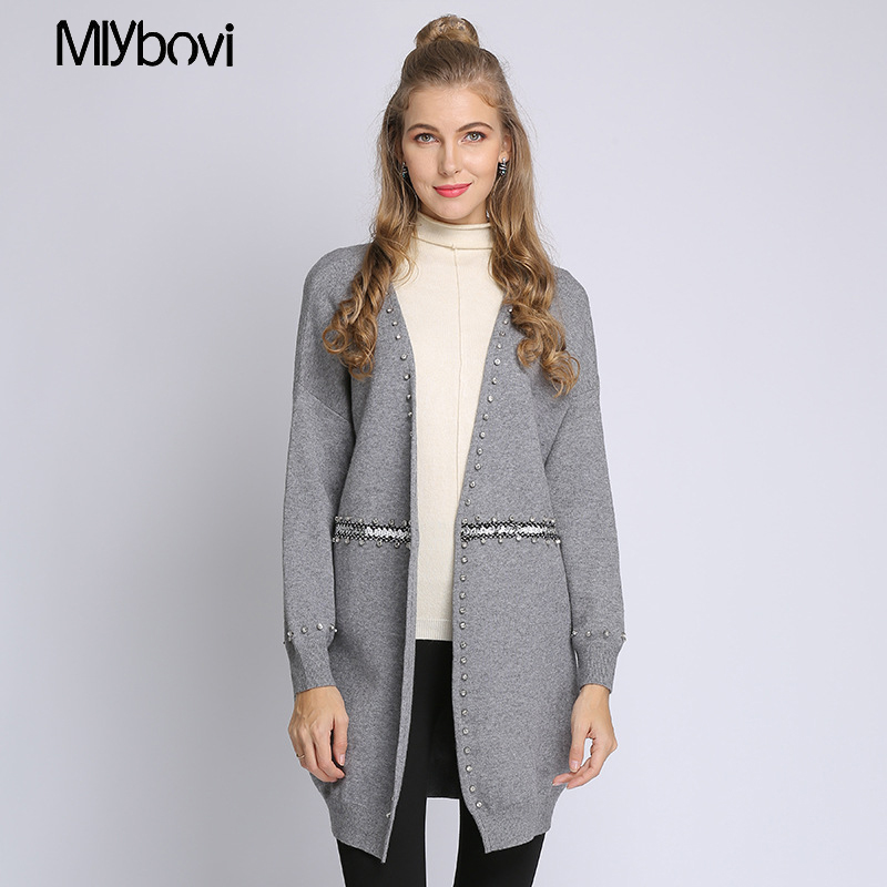 Lady Cardigan Knitting Loose Spring Beige Female Winter Long Solid Neck 2019 V Clothes Bead gray black yellow Sweater Sleeve Cotoon w5gZqvP