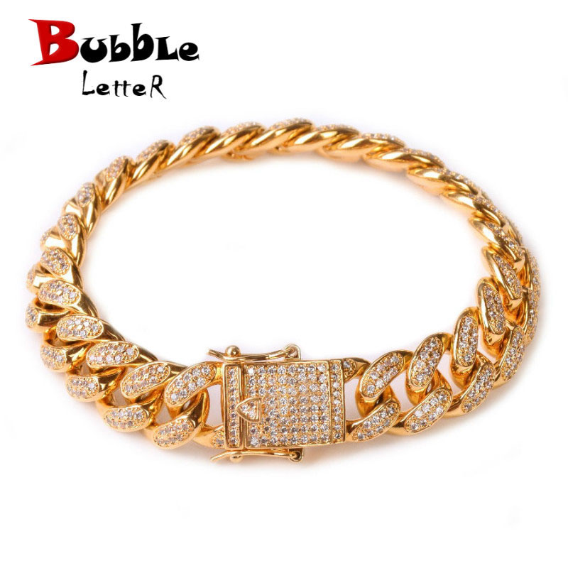 12MM Men Zircon Curb Cuban Link Bracelet Hip hop Jewelry Gold Color Thick Heavy Copper Material Iced CZ Chain Bracelet 8″