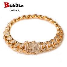 "12MM Men Zircon Curb Cuban Link Bracelet Hip hop Jewelry Gold Color Thick Heavy Copper Material Iced CZ Chain Bracelet 8"""