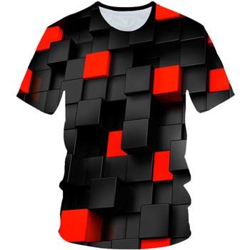 Boys Girls Black Red Magic Tetris 3d Print Lattice T-shirt  2019 Summer Children Funny Party T shirt Kids Fashion Tshirts 4T-20T 1