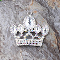 Free Shipping Newest 47*50MM 10Pcs/Lot Silver Zinc Alloy White Crown Rhinestone Pendant For Chunky Necklace Making