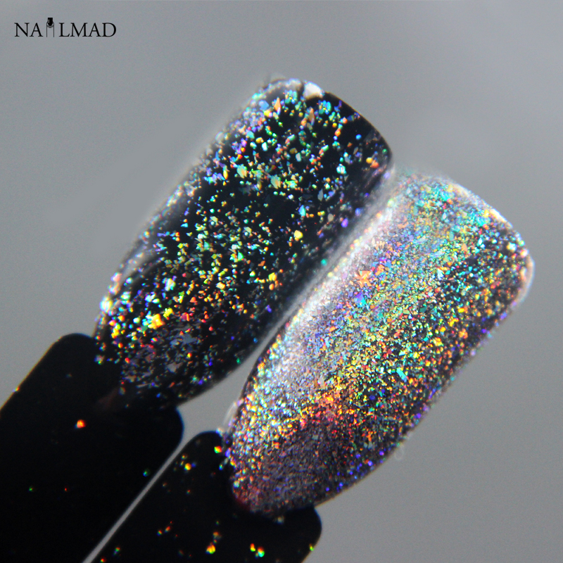 0.2gram / caja NailMAD Galaxy Holo Flakes Bling Nail Flecks Polvo Galaxy Chrome Flakes Laser Flakes