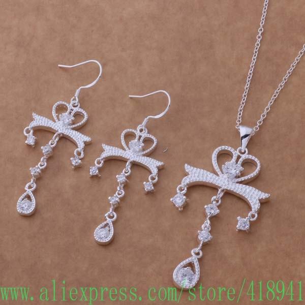 13219b15e075 925 plata esterlina Juegos de joyería pendiente 486 + collar 133 ejfanama  bkhakboa as341