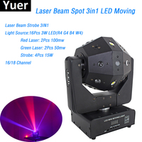 Free shipping Laser Beam Strobe 3IN1 LED Moving Head Lights 16X3W RGBW 120W 16/18 DMX Channels led lamp For DJ Bar Party Show