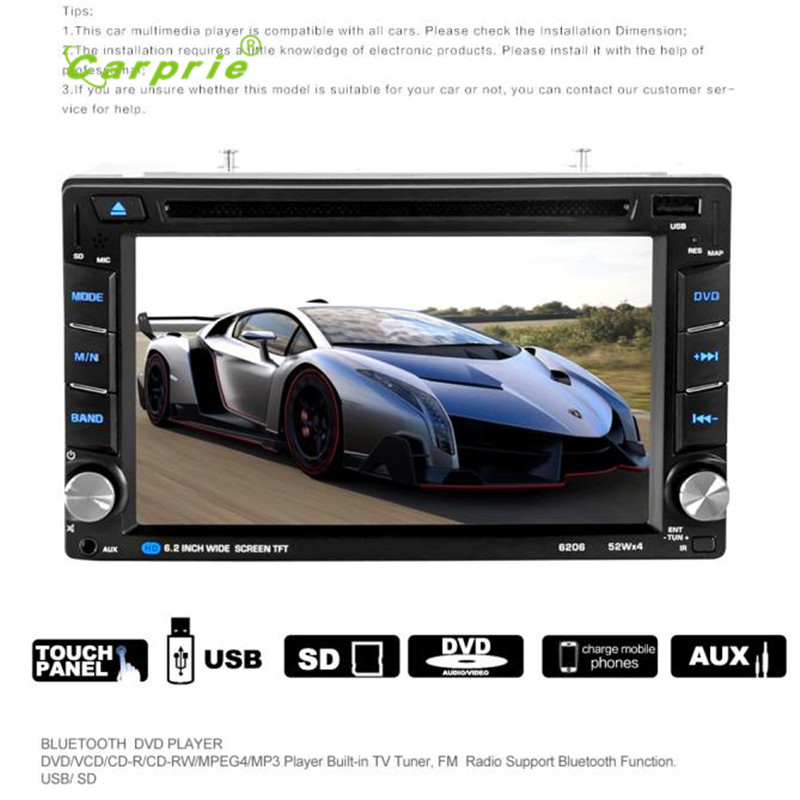 auto car-styling car styling 6.5 Double 2DIN Touch Car Stereo CD DVD Player Bluetooth USB SD AM FM TV Radiomar1