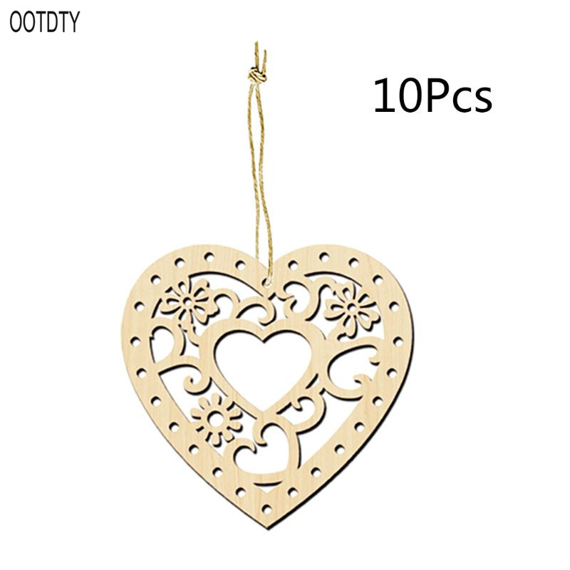 10PCS DIY Craved Hollow Heart-shaped Wood Chips Love Wooden Art Crafts Christmas Tree Hanging Wedding Ornament Decor