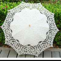 In Stock 2019 Summer Lace Umbrella For Wedding Womens Beach Bridal Sun Lace Umbrella Wedding Wholesale Ombrelle Dentelle Mariage