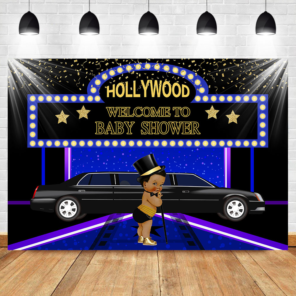 NeoBack Hollywood Newborn Baby Shower Backdrop Welcome to Baby Shower Royal Prince Super Star Backdrops Photography Background in Background from Consumer Electronics