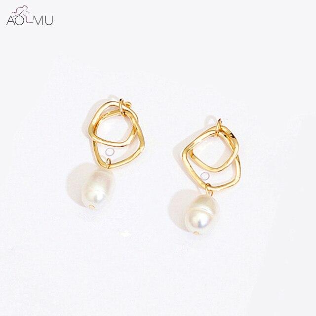Aomu Korea Design S925 Sterling Silver Pin Geometric Gold Metal Square Natural Irregular Freshwater Pearl Earrings