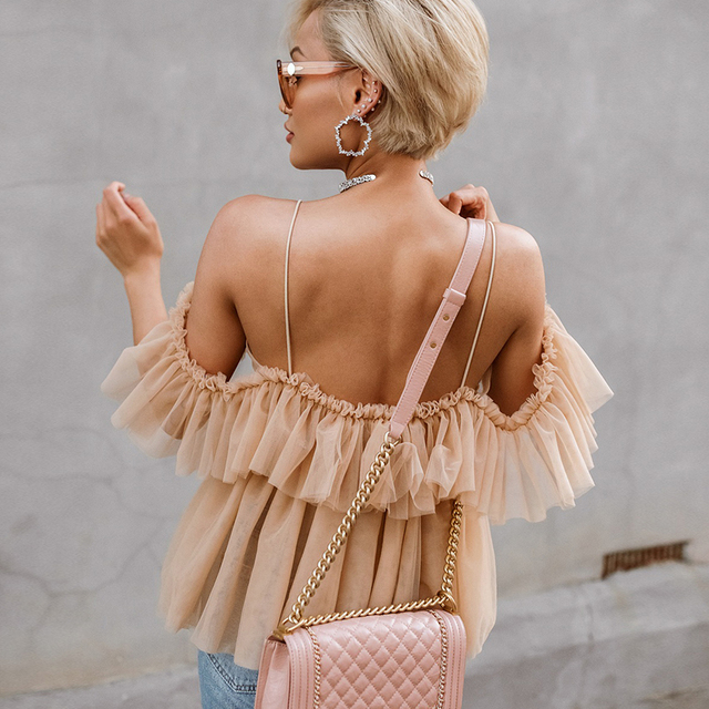 BerryGo women blouse Vintage ruffle summer blouses shirt tops Off shoulder sexy peplum top female Mesh backless blouse blusas 2