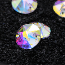 Crystal AB Coping circle shapes Glass sew on rhinestones with two hole Diy wedding dress accessories Free shipping