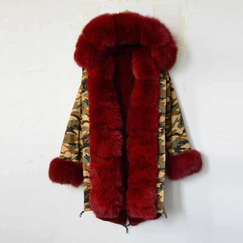 New fashion arrival 2016 camouflage long jacket faux fur lining luxury jacket red fox fur hooded