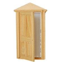 Дизайн Деревянный Кукольный миниатюрные наборы игрушечной мебели аксессуары 4-Панель внешняя деревянная дверь соответствуя рамкой Современные мини кукольный дом
