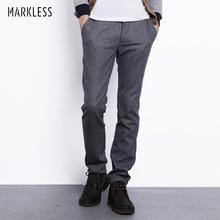 Markless Осень Зима шерстяные брюки мужские модные повседневные размера плюс 3XL прямые брюки мужские плотные теплые шерстяные брюки CKA3819M