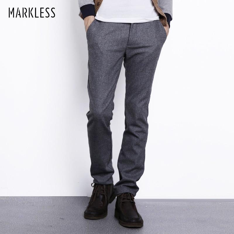 Markless Jesień Zima Wełniane Spodnie Męskie Moda Casual Plus Rozmiar 3XL Proste Spodnie Męskie Wagi Ciężkie Ciepłe Spodnie Wełniane CKA3819M