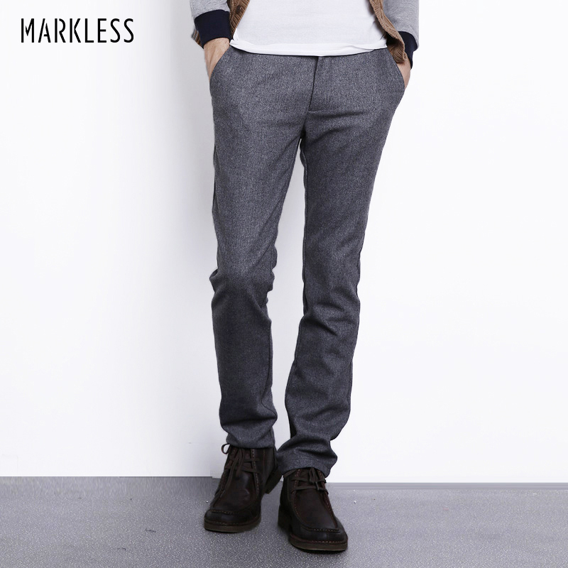 Markless Autumn Winter Wool Pants Men Fashion Casual Plus Size Straight Trousers Male Heavyweight Woolen Pant