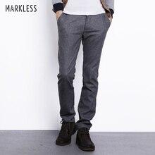 Markless осенне-зимняя одежда из шерсти Брюки для девочек Для мужчин модные Повседневное плюс Размеры прямые брюки мужской супертяжелом шерстяные штаны брендовая одежда