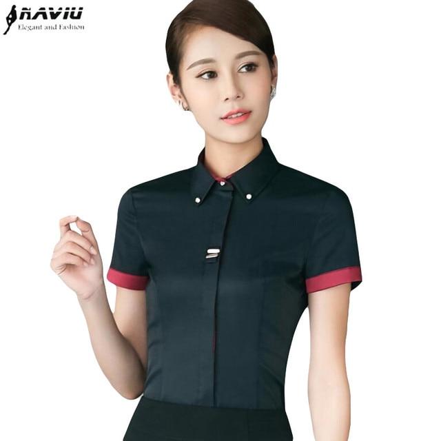 Summer Fashion Women Short Sleeve Shirt Black White Formal Slim