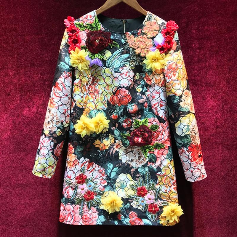 2019 New Fashion Designer Runway Dress Spring Women Long Sleeve Floral Applique Print Beads Sequins Elegant Short Dress