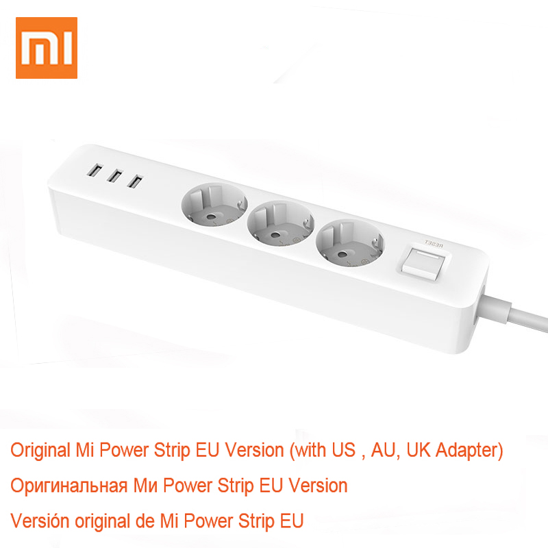 Xiaomi Original Power Socket Strip 3 USB 3 AC Port Charger Adapter Outlet Extension EU Plug Patch Socket Board For Mi Home in Extension Socket from Consumer Electronics
