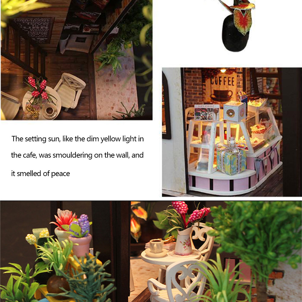 DIY Дом Миниатюрный Кукольный Дом DIY 3D Деревянный кукольный домик кофе магазин ручной работы микро-пейзаж ручной работы мигающая игрушка Обучающие руки-на