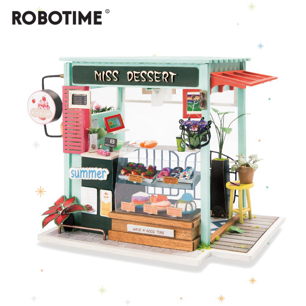Robotime DIY Ice Cream Station With Furniture Children Adult Miniature Wooden Doll House Model Building Dollhouse Toys DGM06