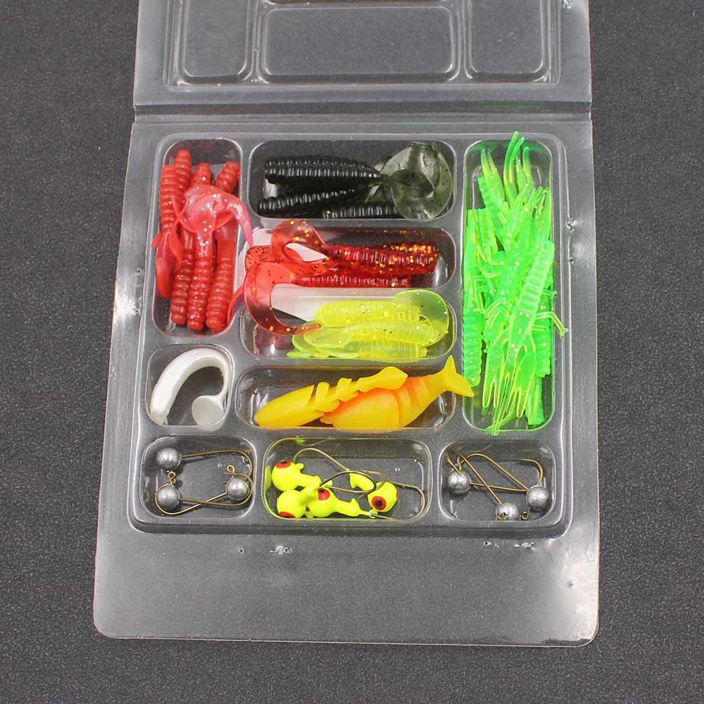 35Pcs/Set Soft Worm Lure Carp Fishing Lure Set + 10 Lead Head Jig Hooks Simulation Suite Soft Fishing Baits Set Tackle New
