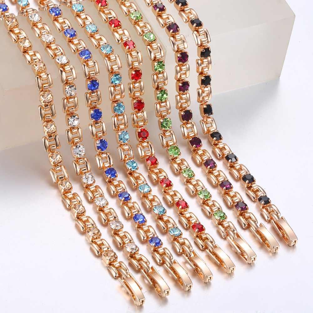 8 renk kübik zirkon bilezikler kadınlar için 585 gül altın kare Link bileklik kız arkadaşı eşi hediyeler kadın takı 20.6cm GBM101