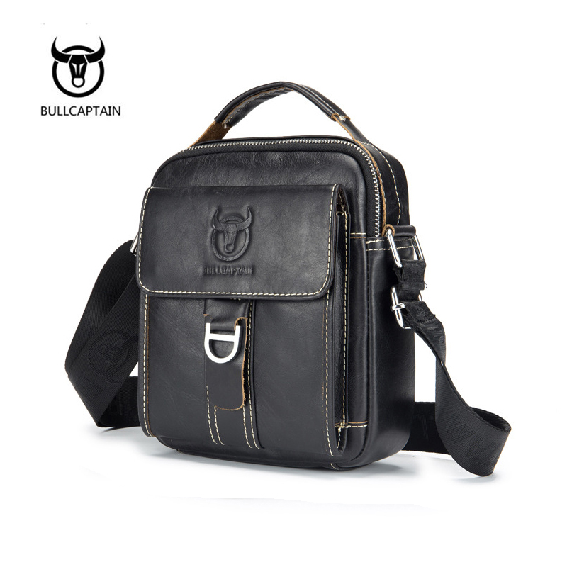 BULLCAPTAIN  Designer Brand New Arrival Mens Shoulder Bag Genuine Cowhide Leather Handbags Vintage Retro Men Messenger Bags