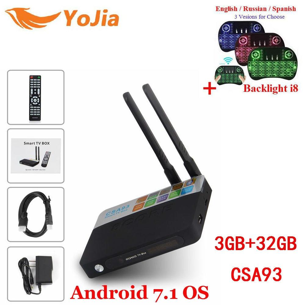 Yojia 2 GB/16 GB 3 GB/32 GB CSA93 Android 7.1 TV Box Amlogic S912 Octa nucleo CSA93 Smart TV BOX Media Player Dual Wifi BT4.0 4 K