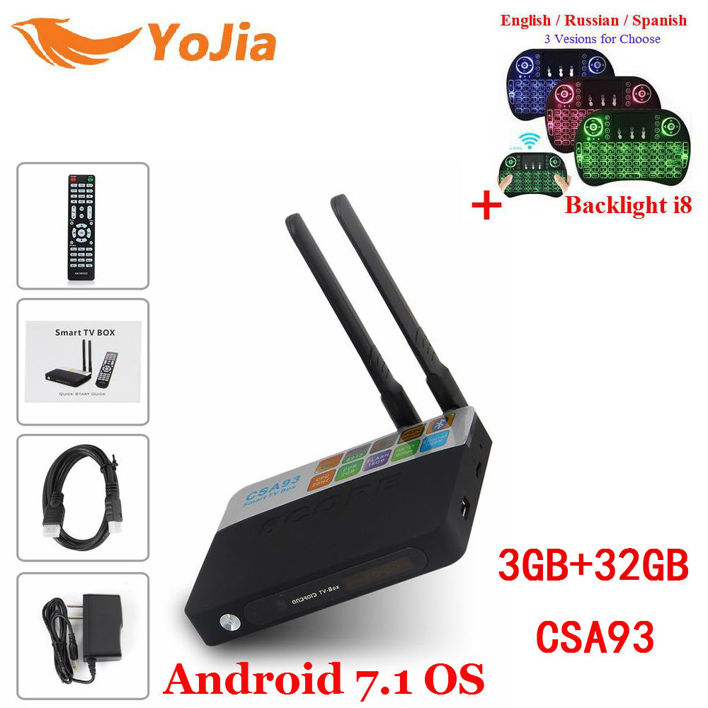 Yojia CSA93 Android 7.1 TV Box 2GB/16GB 3GB/32GB CSA93 Amlogic S912 Octa Core Smart TV BOX Media Player Dual Wifi BT4.0 4K 2gb ram 32gb rom android 6 0 tv box amlogic s912 octa core tx8 metal case smart 4k 3d media player dual wifi bluetooth vs mi box