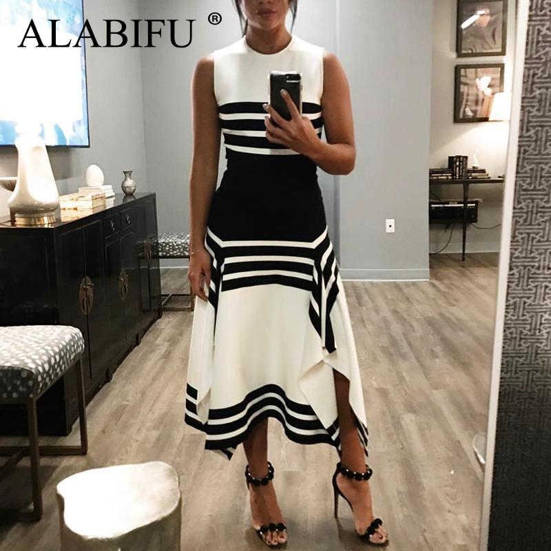 ALABIFU плюс размер Полосатое летнее платье женское 2019 повседневное лоскутное платье сексуальные длинные вечерние платья черные белые Vestidos Украина 3XL