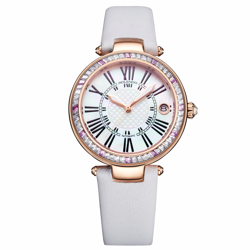 Rolendo 2018 Top Brand Luxury Hot Sale Automatic Ladies Watch Steel Material While Leather Watchband Women Mechanical WatchesRolendo 2018 Top Brand Luxury Hot Sale Automatic Ladies Watch Steel Material While Leather Watchband Women Mechanical Watches