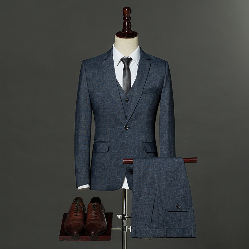 (Jacket+Pant+Vest) Men Business Suits Classic One Button Slim Fit Single Button 2017 New Brand Male Plaid Suit Navy Blue Gray delem da 56 brand new button membrane